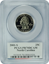 2001-S PCGS PR70DCAM North Carolina Statehood Quarter