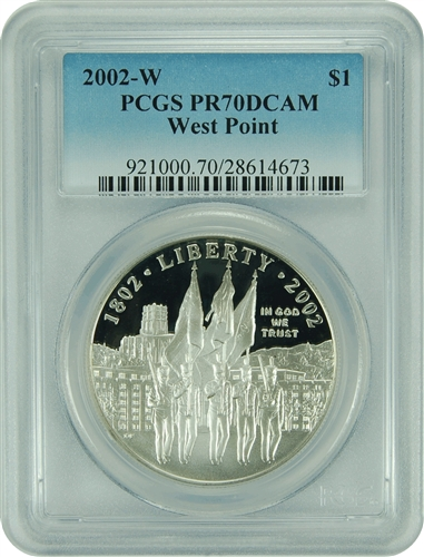 2002-W PCGS PR70DCAM West Point Commemorative Silver Dollar Faded Label