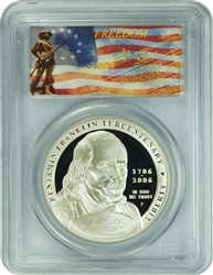 2006-P PCGS PR70DCAM Franklin-Founding Father Silver Dollar Freedom Label
