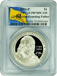 2006-P PCGS PR70DCAM Franklin-Founding Father Silver Dollar Don't Tread On Me Label