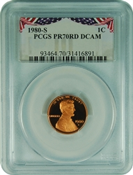 1980-S PCGS PR70RD DCAM Lincoln Cent Bunting Label