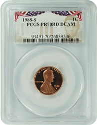 1988-S PCGS PR70RD DCAM Lincoln Cent Presidential Label