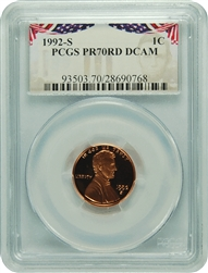 1992-S PCGS PR70RD DCAM Lincoln Cent Presidential Label