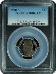 1990-S PCGS PR70DCAM Jefferson Nickel Faded Label