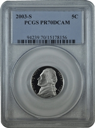 2003-S PCGS PR70DCAM Jefferson Nickel Classic Label