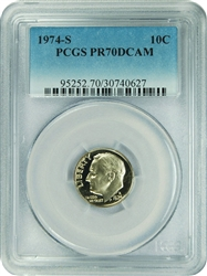 1974-S PCGS PR70DCAM Roosevelt Dime Faded Label