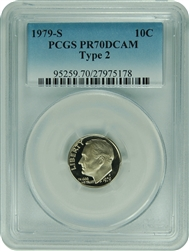 1979-S PCGS PR70DCAM TYPE 2 Roosevelt Dime Faded Label