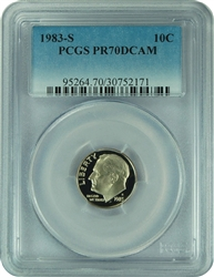 1983-S PCGS PR70DCAM Roosevelt Dime Faded Label