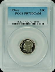 1994-S PCGS PR70DCAM Roosevelt Dime Faded Label