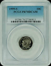 1999-S PCGS PR70DCAM Roosevelt Dime Faded Label
