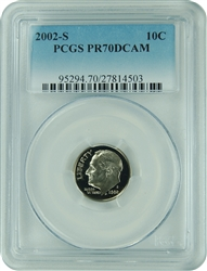 2002-S PCGS PR70DCAM Roosevelt Dime Faded Label