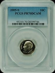 2005-S PCGS PR70DCAM Roosevelt Dime Faded Label