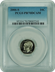 2006-S PCGS PR70DCAM Roosevelt Dime Faded Label
