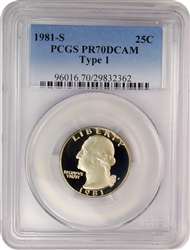 1981-S PCGS PR70DCAM Type 1 Washington Quarter Faded Label