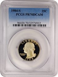 1984-S PCGS PR70DCAM Washington Quarter Faded Label