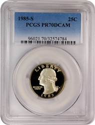 1985-S PCGS PR70DCAM Washington Quarter Faded Label