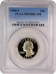 1990-S PCGS PR70DCAM Washington Quarter Faded Label