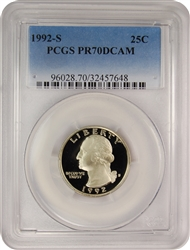 1992-S PCGS PR70DCAM Washington Quarter Faded Label
