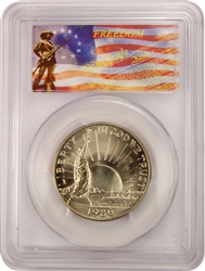 1986-D PCGS MS70 Statue Of Liberty .50 Commemorative Freedom Label