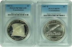 1987 -P/S PCGS MS70/PR70DCAM Constitution Set