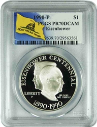 1990-P PCGS PR70DCAM Eisenhower Commemorative Silver Dollar Don't Tread On Me Label