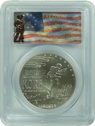 1991-D PCGS MS70 Korea Commemorative Silver Dollar Freedom Label
