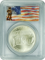 1991-D PCGS MS70 USO Commemorative Silver Dollar Freedom Label