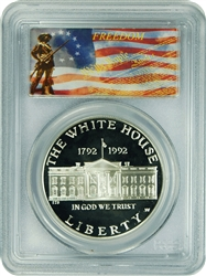 1992-W PCGS PR70DCAM White House Commemorative Silver Dollar Freedom Label