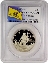 1992-S PCGS PR70DCAM Columbus Silver Half Dollar Don't Tread On Me Label