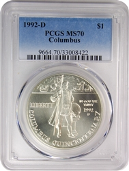 1992-D PCGS MS70 Columbus Silver Dollar Faded Label