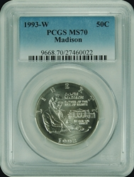 1993-W PCGS MS70 Madison Commemorative Silver Half Dollar