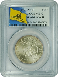 1991-95 P PCGS MS70 World War II Commemorative Half Dollar Don't Tread On Me Label