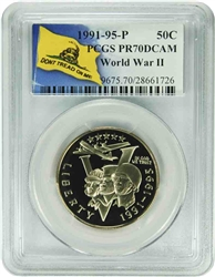 1991-95 P PCGS PR70DCAM World War II Commemorative Half Dollar (Don't Tread On Me Label)