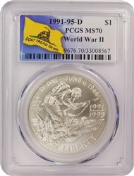 1991-95 D PCGS MS70 World War II Commemorative Silver Dollar Don't Tread On Me Label