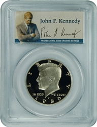 1989-S PCGS PR70DCAM Kennedy Half Dollar Silver Commemorative Presidential Label