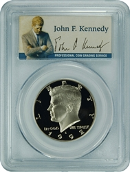 1992-S PCGS PR70DCAM Kennedy Half Dollar Silver Commemorative Presidential Label
