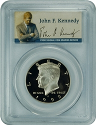 1999-S PCGS PR70DCAM Kennedy Half Dollar Silver Commemorative Presidential Label