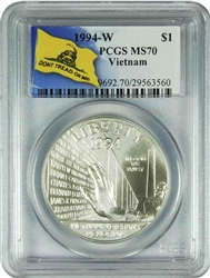 1994-W PCGS MS70 Vietnam SILVER Dollar Don't Tread On Me Label