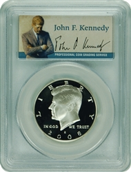 2008-S PCGS PR70DCAM Kennedy SILVER Half Dollar Commemorative Presidential Label