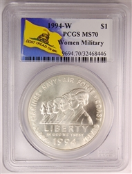 1994-W PCGS MS70 Women Military Commemorative Silver Dollar Don't Tread On Me Label