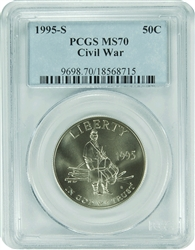 1995-S PCGS MS70 Civil War Commemorative Silver Half Dollar Classic Label
