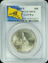 1995-S PCGS MS70 Civil War Commemorative Silver Half Dollar Don't Tread On Me Label