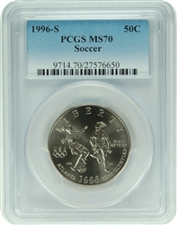 1996-S PCGS MS70 Soccer Commemorative Silver Half Dollar Faded Label