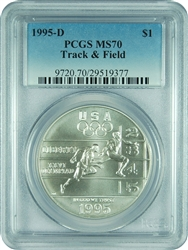 1995-D PCGS MS70 Track & Field Commemorative Dollar (Faded Label)