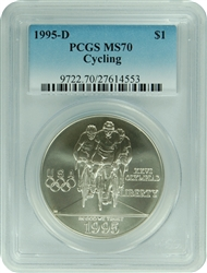1995-D PCGS MS70 Cycling Commemorative Dollar (Faded Label)