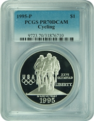 1995-P PCGS PR70DCAM Cycling Silver Dollar Faded label