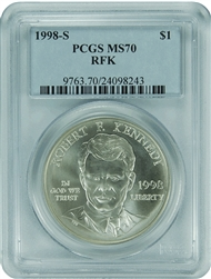 1998-S PCGS MS70 RFK Commemorative Silver Dollar Classic Label