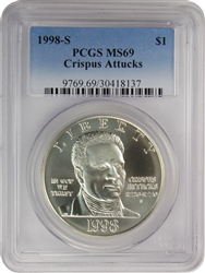 1998-S PCGS MS69 Crispus Attucks Commemorative Silver Dollar Faded Label