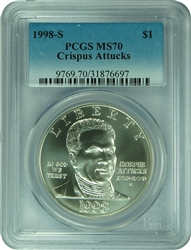 1998-S PCGS MS70 Crispus Attucks Commemorative Silver Dollar Faded Label