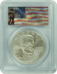 1998-S PCGS MS70 Crispus Attucks Commemorative Silver Dollar Freedom Label